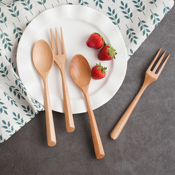 Set wooden fork & spoon
