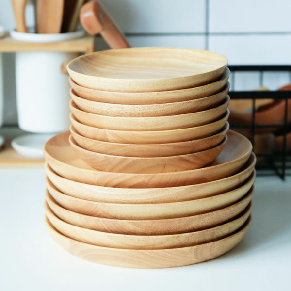 Set 2 rubber wood plates