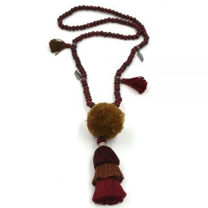 Wooden layered tassel necklace