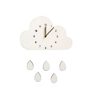 Wooden cloud wall clock