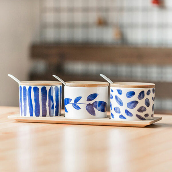 Blue pattern ceramic spice jar sets