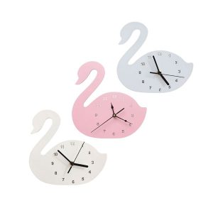Wooden swan wall clock